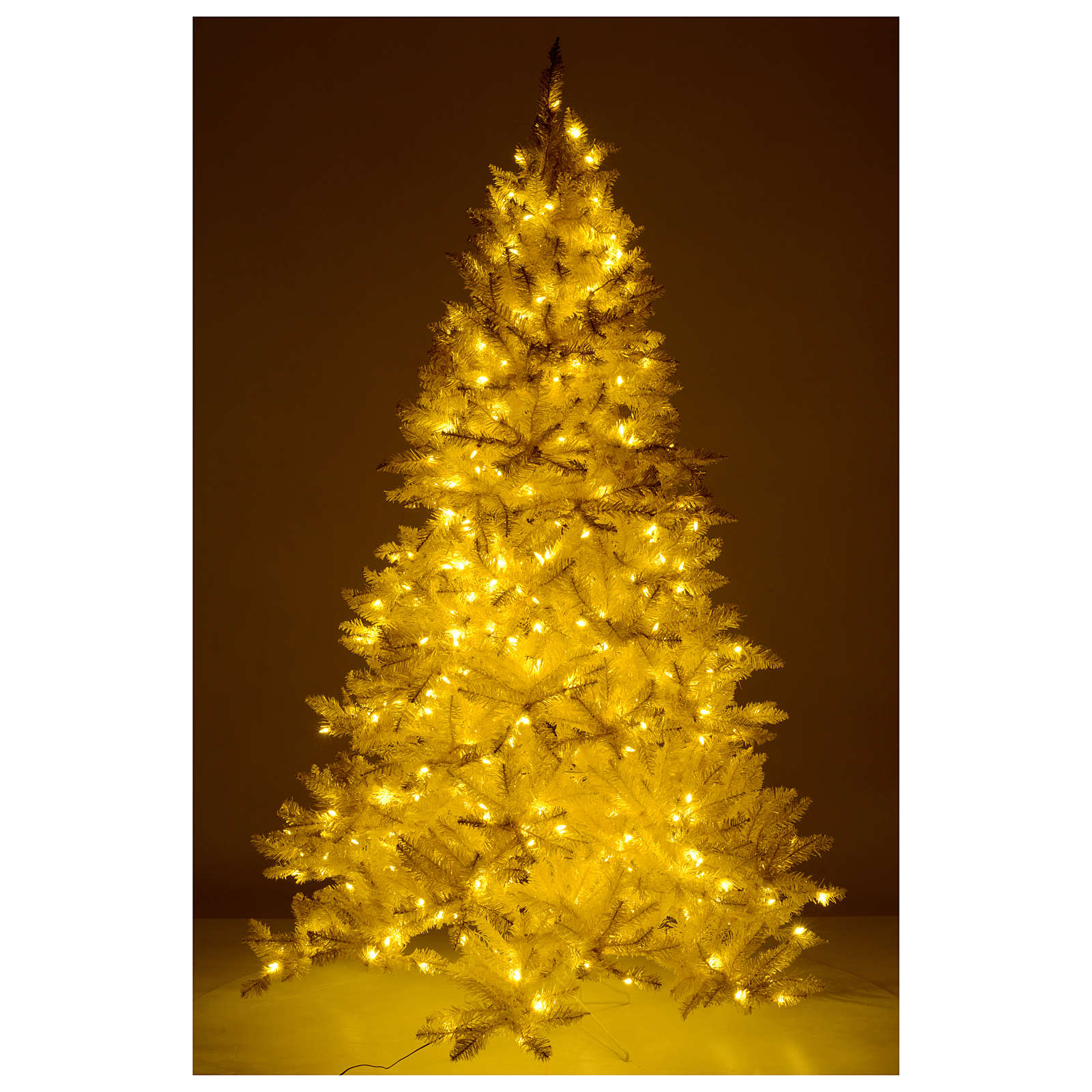 Albero di Natale avorio 270 cm glitter oro 800 luci 3