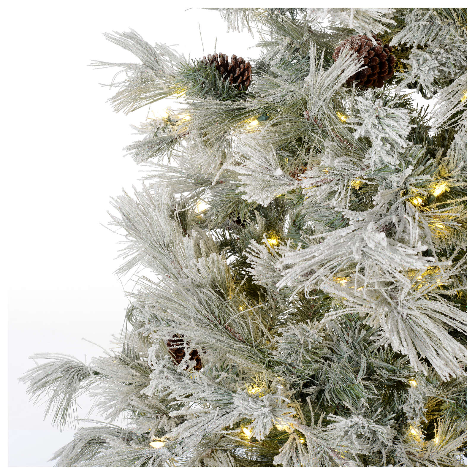 Árbol de Navidad 200 cm verde escarchado con purpurina 350 luces LED 3