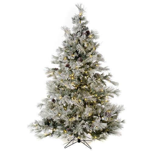 Árbol de Navidad 200 cm verde escarchado con purpurina 350 luces LED 1