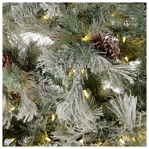 Árbol de Navidad 200 cm verde escarchado con purpurina 350 luces LED 4