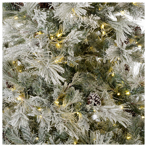 Albero di Natale 200 cm verde brinato con glitter 350 luci led F. Forest 2