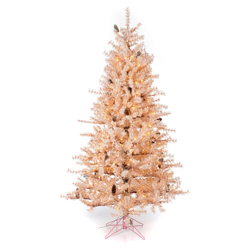 Pink Christmas Tree 200 cm frosted pine cones 300 LEDs Victorian Pink 1