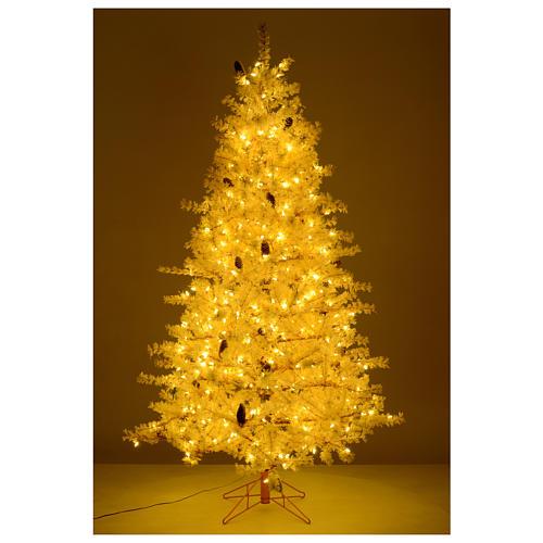 Árbol de Navidad 200 cm rosa escarchado piñas 300 luces LED 5