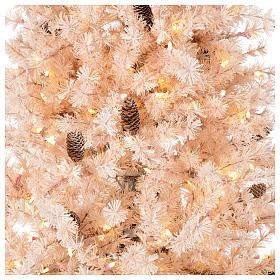 Albero di Natale rosa 200 cm brinato pigne 300 luci led Victorian Pink s2