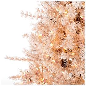 Albero di Natale rosa 200 cm brinato pigne 300 luci led Victorian Pink s3