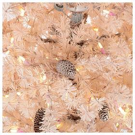 Albero di Natale rosa 200 cm brinato pigne 300 luci led Victorian Pink s4