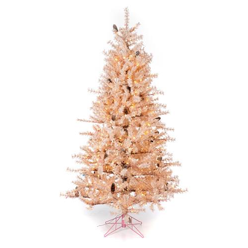 Albero di Natale rosa 200 cm brinato pigne 300 luci led Victorian Pink 1