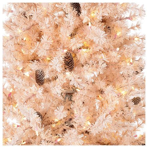 Albero di Natale rosa 200 cm brinato pigne 300 luci led Victorian Pink 2