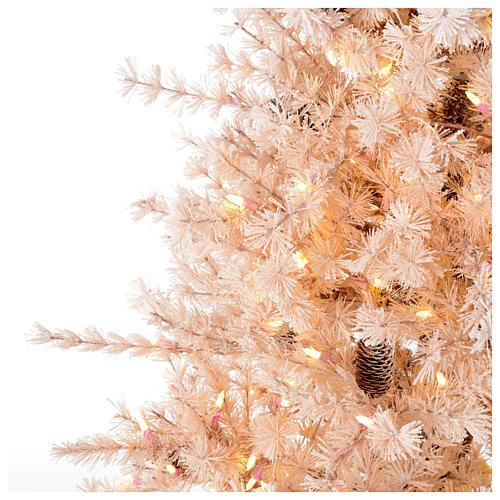 Albero di Natale rosa 200 cm brinato pigne 300 luci led Victorian Pink 3
