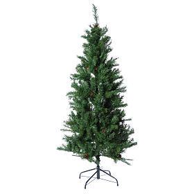 Christmas tree 210 cm slim memory shape green with Norimberga pinecones s1