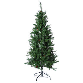 Albero di Natale slim verde con pigne 230 cm memory shape Norimberga s1