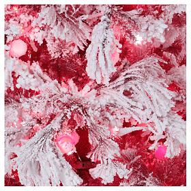 Albero di Natale 230 cm Red Velvet abete innevato 500 luci led uso interno s2