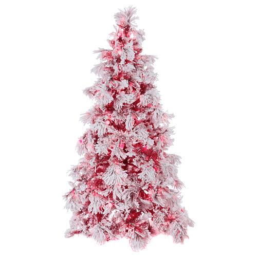 Albero di Natale 230 cm Red Velvet abete innevato 500 luci led uso interno 1