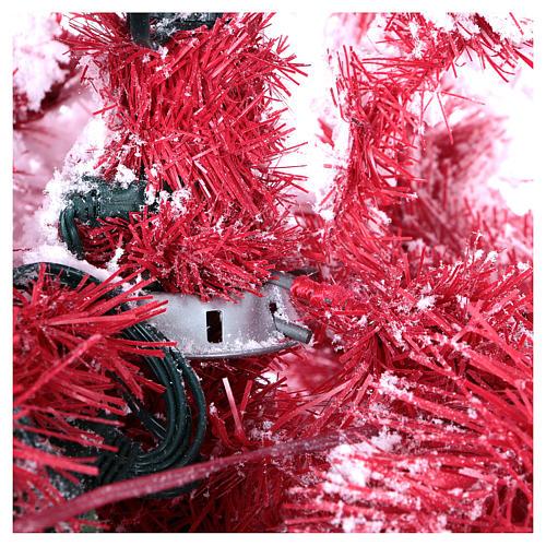 Albero di Natale 230 cm Red Velvet abete innevato 500 luci led uso interno 5