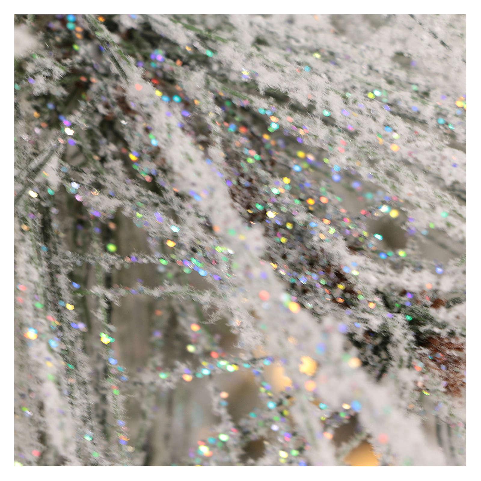 Albero di Natale 270 cm pino innevato pigne naturali 700 luci eco led interno feel real 3