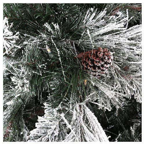 Albero di Natale 270 cm pino innevato pigne naturali 700 luci eco led interno feel real 2
