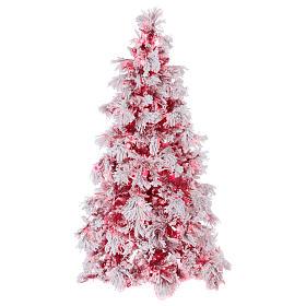 Albero di Natale 270 cm Red Velvet abete innevato 700 luci led interno s1