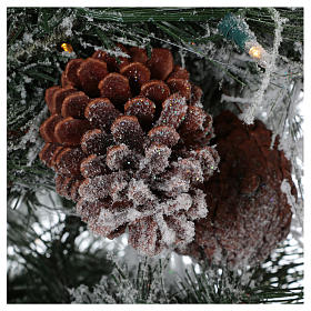 Arbol de Navidad 230 cm pino nevado con piñas naturales 450 LED para interior feel-real s4