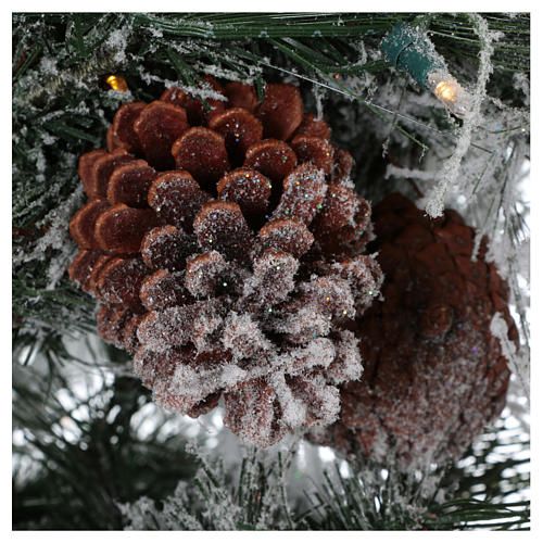 Arbol de Navidad 230 cm pino nevado con piñas naturales 450 LED para interior feel-real 4