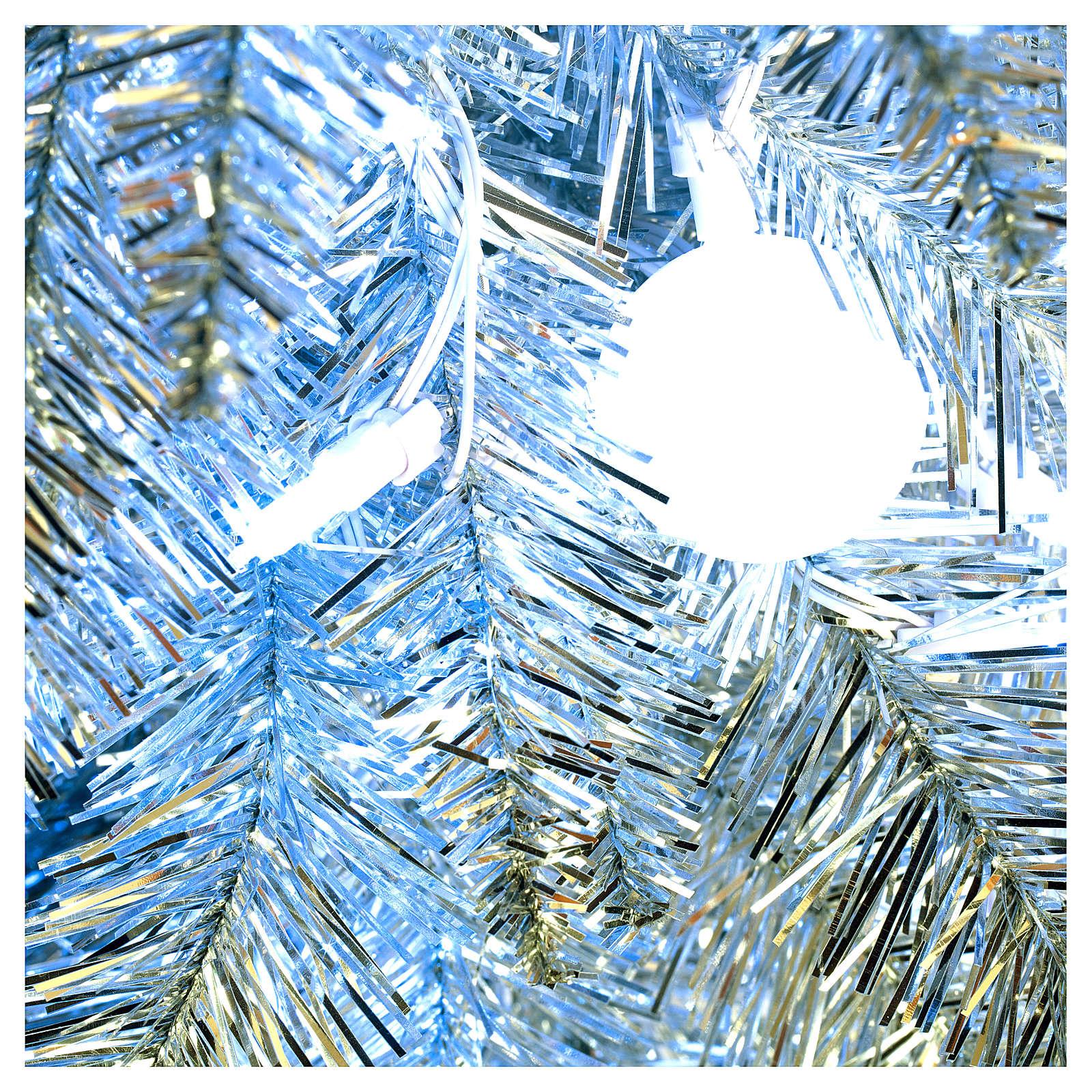 Sapin de Noël 180 cm Fancy Silver pointe pliable 300 lumières Led pour intérieur  et extérieur 3
