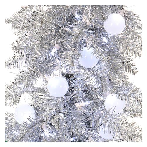 Sapin de Noël 180 cm Fancy Silver pointe pliable 300 lumières Led pour intérieur  et extérieur 2