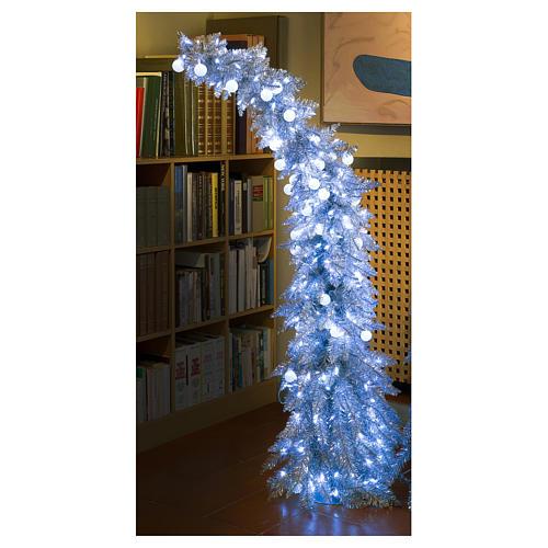 Albero di Natale 180 cm Fancy Silver abete argento punta modellabile 300 led interno esterno 5
