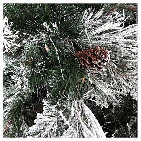 Albero di Natale 340 cm pino innevato con pigne naturali 1000 luci eco led interno feel real s3