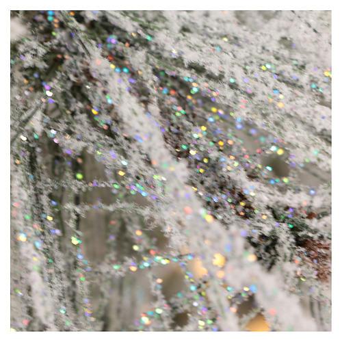 Albero di Natale 340 cm pino innevato con pigne naturali 1000 luci eco led interno feel real 7