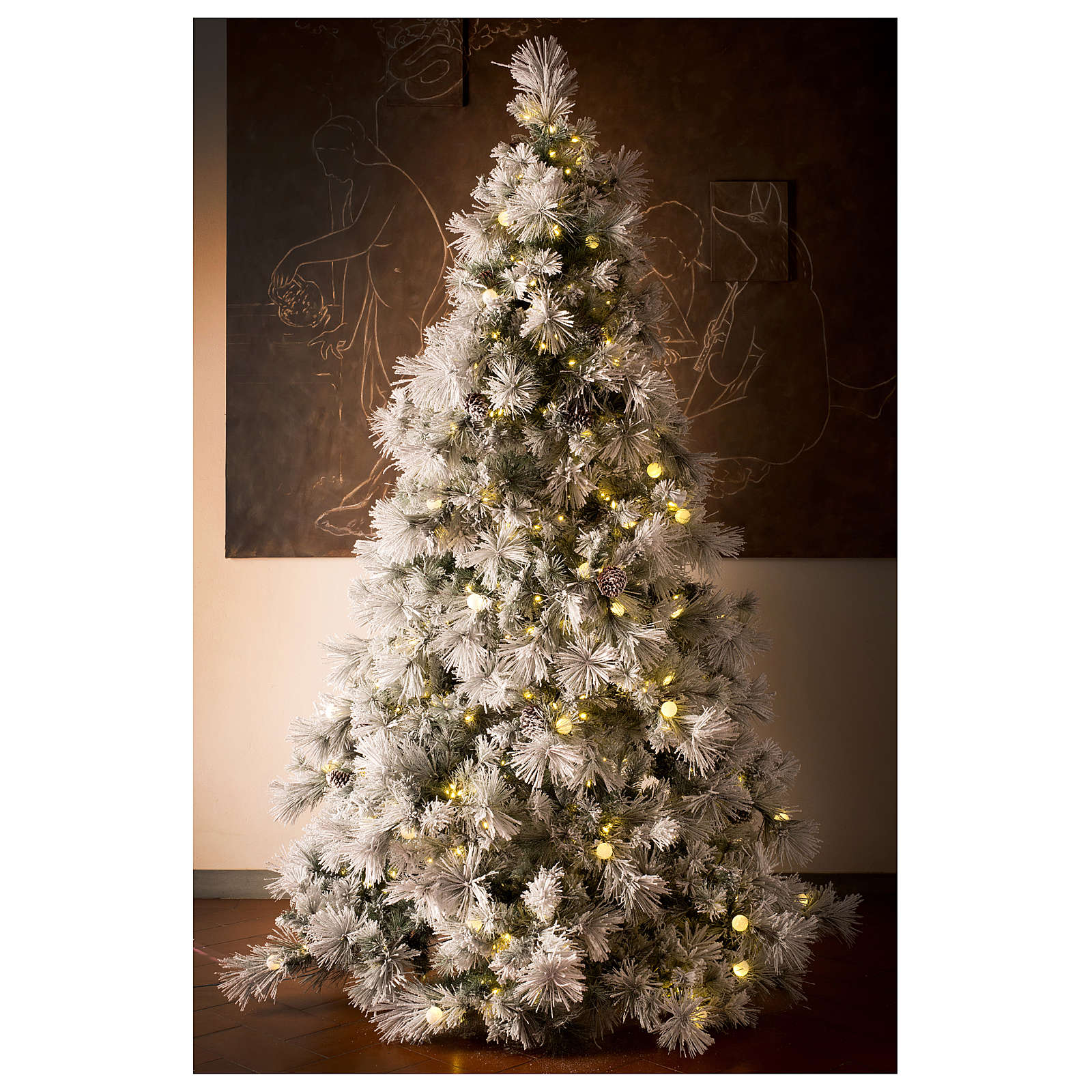 new styles cbbcf 13a5e Frosted Christmas Tree 340 cm with natural pine cones 1000 lights eco led  interior real feel