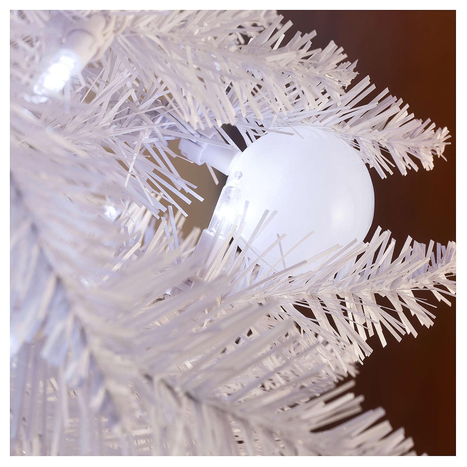 Sapin de Noël 180 cm Fancy White pointe pliable 300 lumières Led pour intérieur  et extérieur 3
