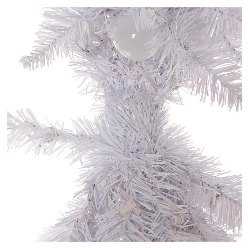 Sapin de Noël 180 cm Fancy White pointe pliable 300 lumières Led pour intérieur  et extérieur 4