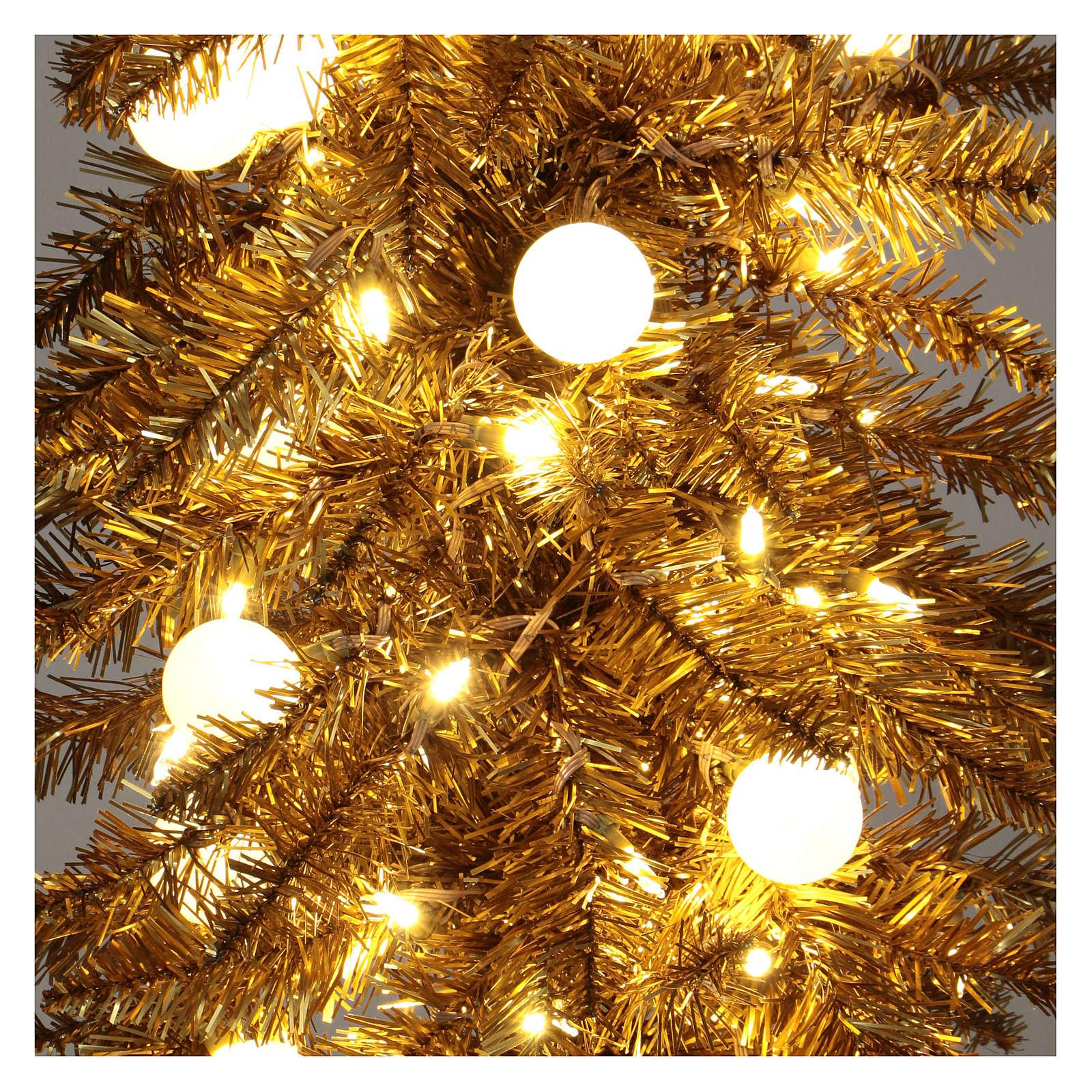 Immagini Natale Oro.Albero Di Natale 180 Cm Fancy Gold Abete Oro Punta Modellabile 300 Eco Led Interno Esterno