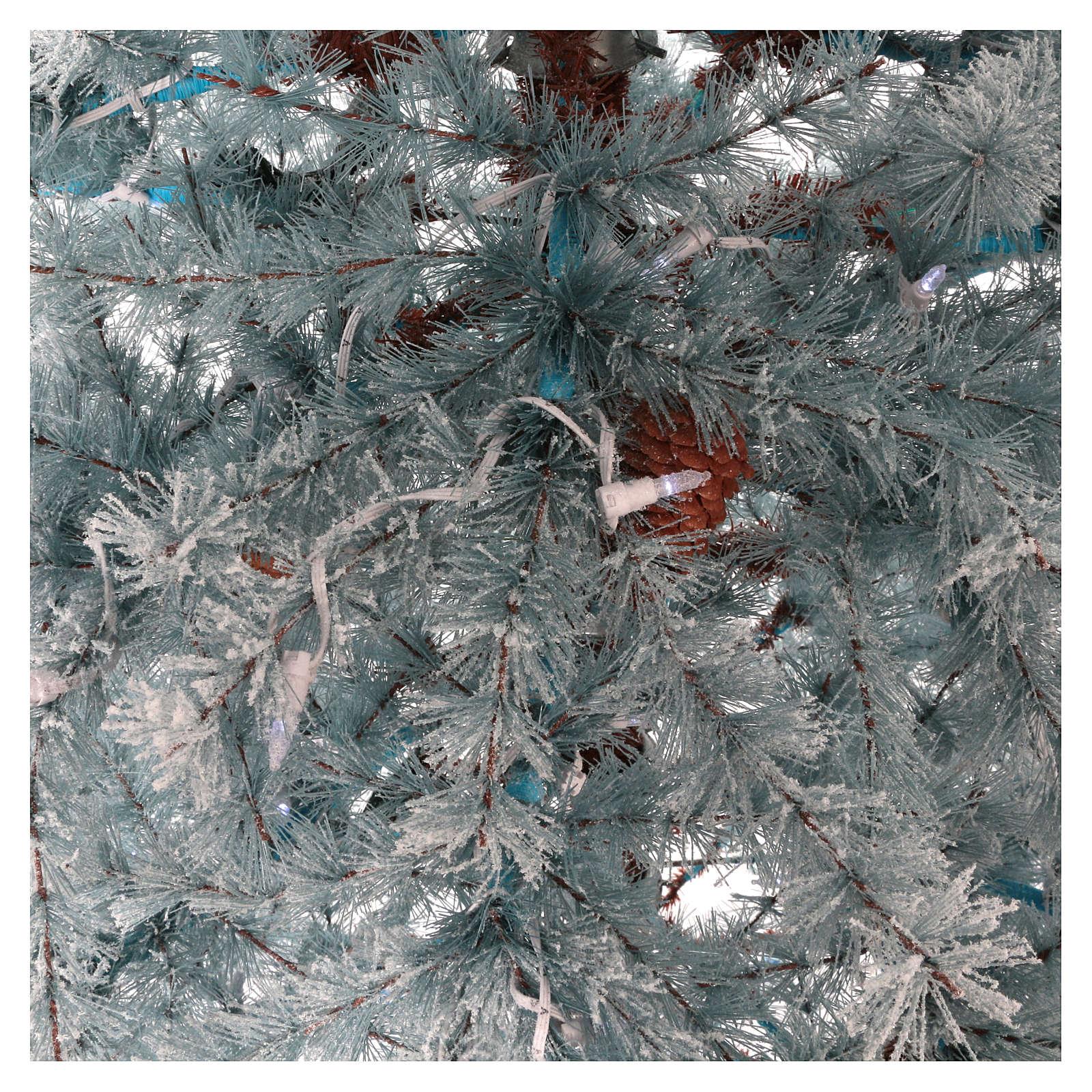 Arbol de Navidad 210 cm Victorian Blu escarcha piñas naturales 350 ECO LED para interior o exterior 3