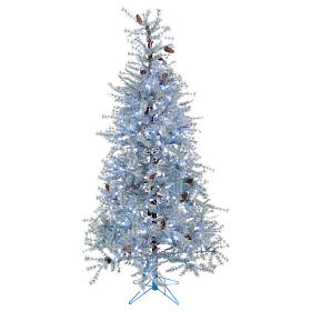 Arbol de Navidad 210 cm Victorian Blu escarcha piñas naturales 350 ECO LED para interior o exterior s1
