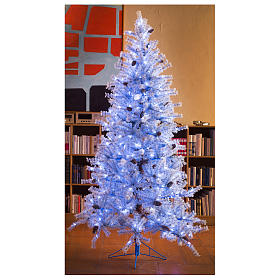 Arbol de Navidad 210 cm Victorian Blu escarcha piñas naturales 350 ECO LED para interior o exterior s7