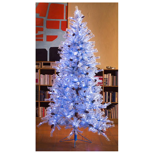 Arbol de Navidad 210 cm Victorian Blu escarcha piñas naturales 350 ECO LED para interior o exterior 7