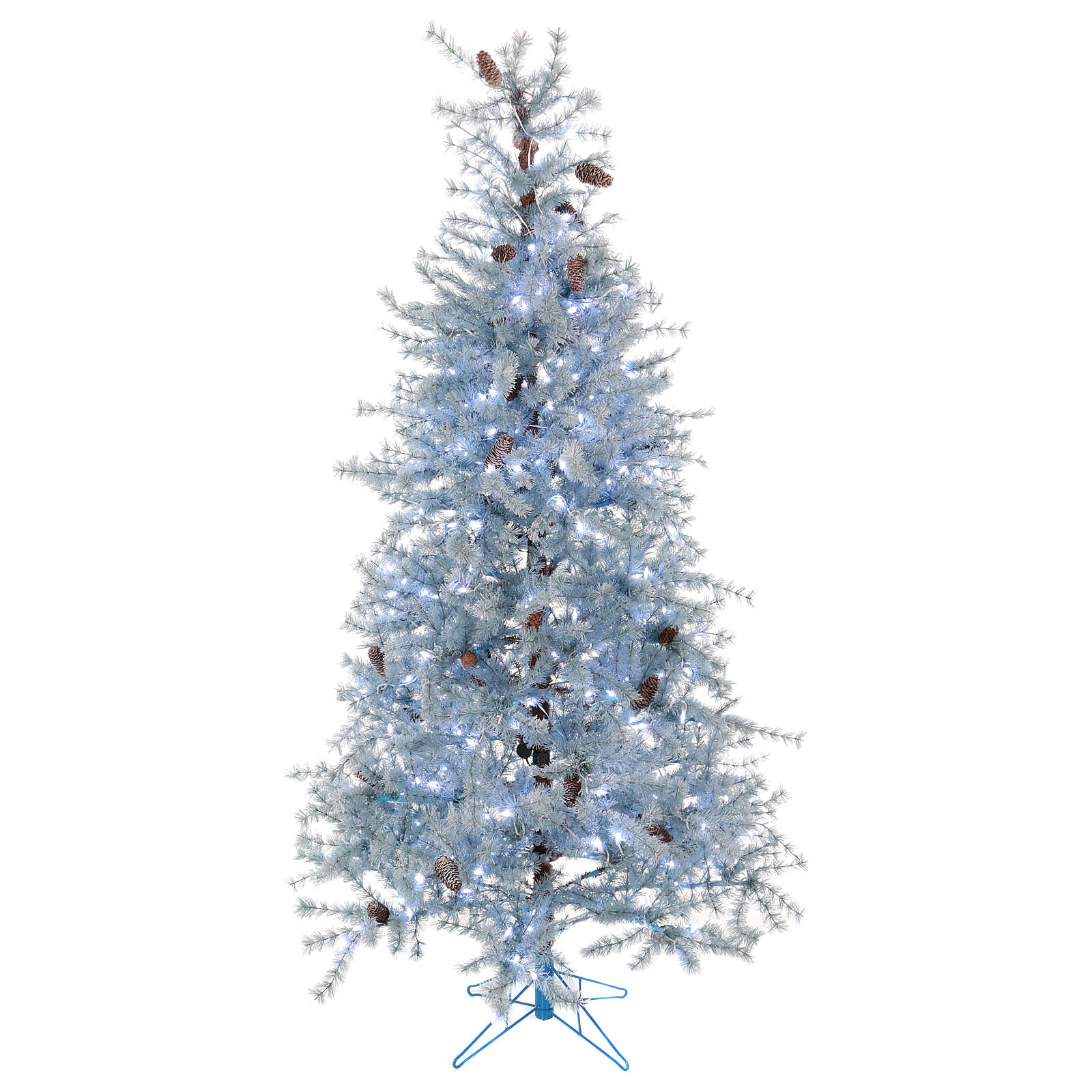 Albero di Natale 210 cm Victorian Blue brinato blu pigne naturali 350 eco led interno esterno 3