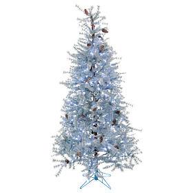 Albero di Natale 210 cm Victorian Blue brinato blu pigne naturali 350 eco led interno esterno s1