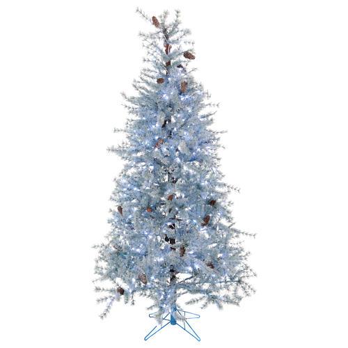 Albero di Natale 210 cm Victorian Blue brinato blu pigne naturali 350 eco led interno esterno 1