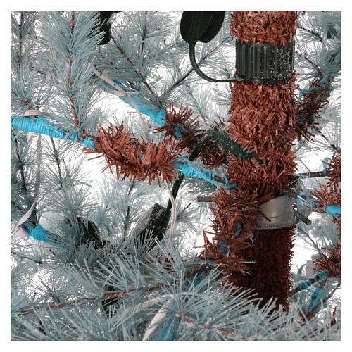 Albero di Natale 210 cm Victorian Blue brinato blu pigne naturali 350 eco led interno esterno 4