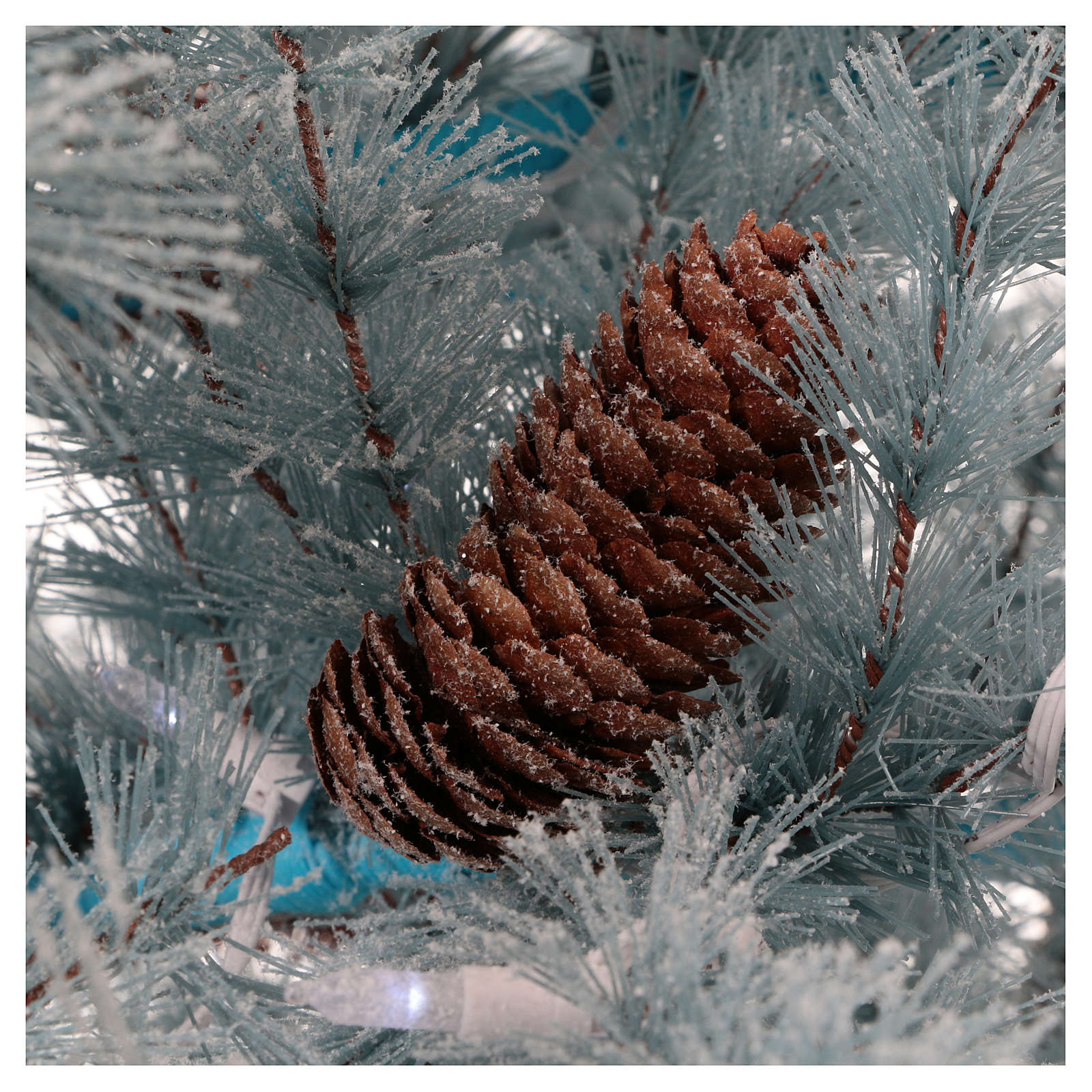 Christmas tree 210 cm in Victorian Blue with frosted blue pine cones 350 eco LED indoor outdoor  3