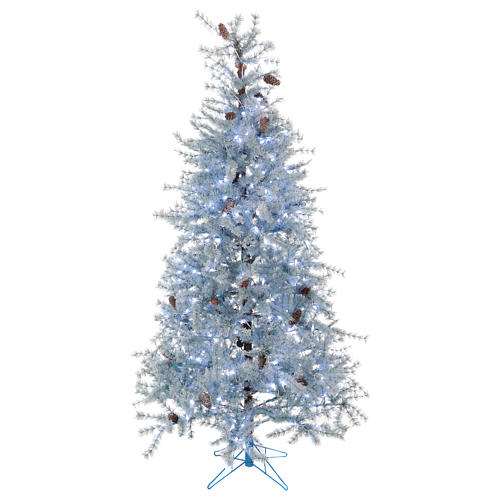 Christmas tree 210 cm in Victorian Blue with frosted blue pine cones 350 eco LED indoor outdoor  1