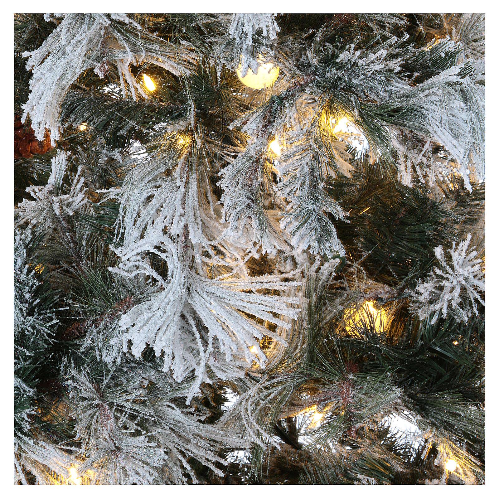 Albero Natale 200 cm pino innevato con pigne naturali 350 luci led interno feel real 3