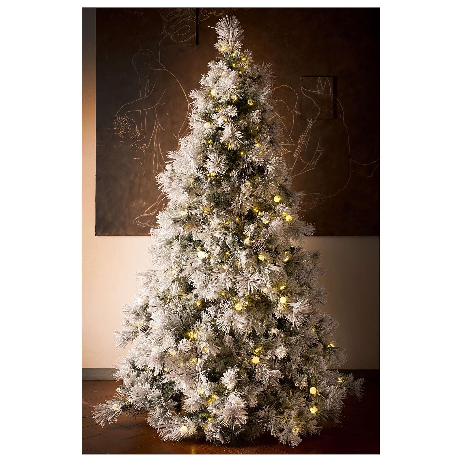 Luci Albero Natale.Albero Natale 200 Cm Pino Innevato Con Pigne Naturali 350 Luci Led Interno Feel Real