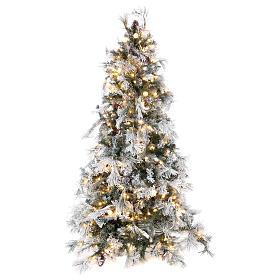 Albero Natale 200 cm pino innevato con pigne naturali 350 luci led interno feel real s1