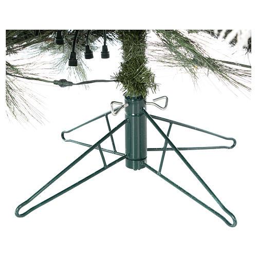 Albero Natale 200 cm pino innevato con pigne naturali 350 luci led interno feel real 6