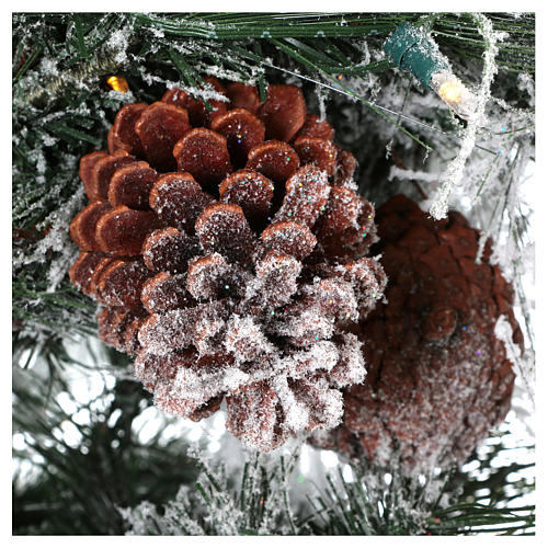 Christmas tree 200 cm snow-covered pine with natural pine cones 350 internal led lights feel real 3