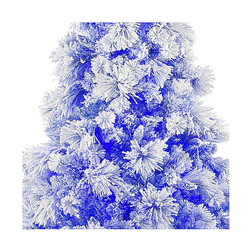Árvore de Natal azul PVC e Poly 270 cm modelo V. Burgundy com geada e pinhas 600 luzes para Exterior 3