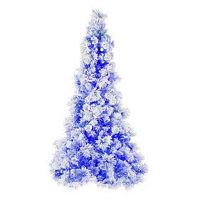 Árvore de Natal azul PVC e Poly 270 cm modelo V. Burgundy com geada e pinhas 600 luzes para Exterior s1
