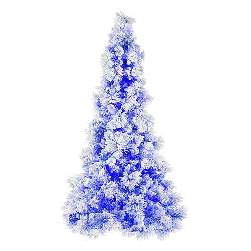 Árvore de Natal azul PVC e Poly 270 cm modelo V. Burgundy com geada e pinhas 600 luzes para Exterior 1